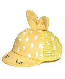 Little Hip Boutique Cute Bunny Eyes Cap - Yellow