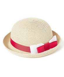 Little Hip Boutique Bow Bucket Hat - Red & Beige