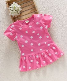 Jing Ling Polka Dot Baby Dress - Pink