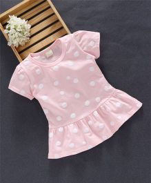 Jing Ling Polka Dot Baby Dress - Light Peach