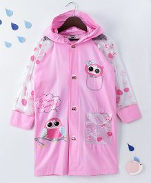 Full Sleeves Hooded Raincoat Owl Print - Pink
