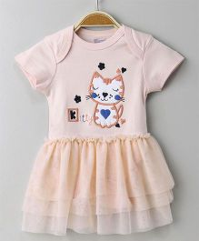 Mom's Love Short Sleeves Frock Style Onesie Kitty Patch - Peach