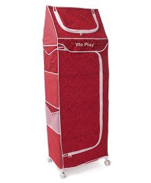 Luvely 5 Shelves Storage Unit Abstract Print - Red