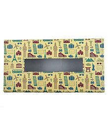 The Crazy Me Leatherette Tissue Box Holder Retro Travel Print - Multi Colour