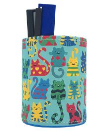 The Crazy Me Pen Stand Kitty Print - Sea Green