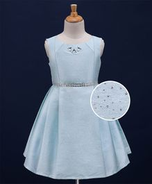 Babyoye Sleeveless Box Pleated Party Dress Triangle Studs - Blue