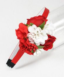 Asthetika Floral Hair Band - Red & White
