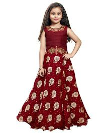Betty By Tiny Kingdom Flower Work & Print Long Gown - Maroon