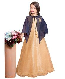 Betty By Tiny Kingdom Long Gown With Designer Cape - Fawn
