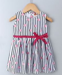 Dew Drops Sleeveless Stripe Frock - White Navy Blue Pink