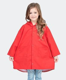 Awabox Solid Print Raincoat - Red