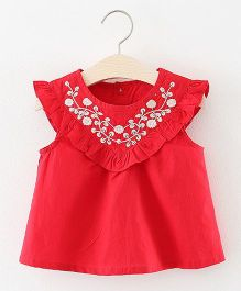 Pre Order - Awabox Neck Embroidery Frill Top - Red