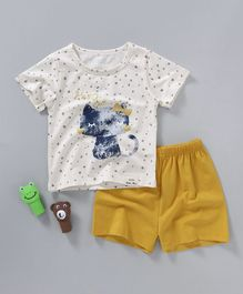 Here Cat & Dot Printed T-Shirt with Shorts Set - Cream & Yellow