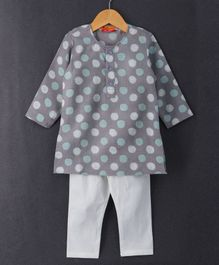 Exclusive From Jaipur Full Sleeves Kurta & Pajama Set Polka Print - Grey