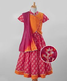 Exclusive From Jaipur Lehenga Set Floral Print - Pink Orange