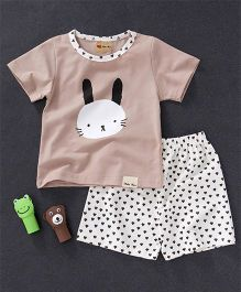 Here Rabbit Face Printed Tee And Shorts Set - Peach & White
