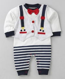 Wonderchild Stripes Romper With Jacket - Blue & White