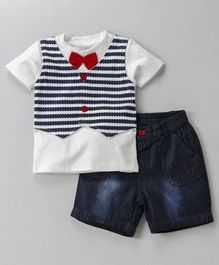 Wonderchild Tee & Denim Shorts Set - Blue & White