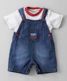 Wonderchild Half Sleeves Tee With Denim Dungaree - Blue & White