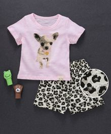 Here Dog Printed Tee And Shorts Set - Pink & Grey