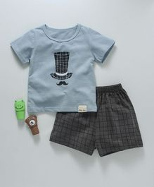 Here Hat Printed Tee And Shorts Set - Blue & Grey