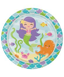 Creative Converting Paper Plates Mermaid Print Pack of 16 - Blue