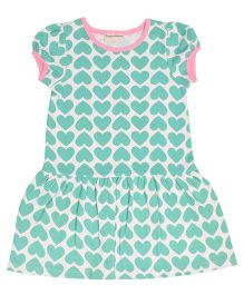 Crayonflakes Hearts Printed Dress - Sea Green