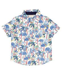 Crayonflakes Elephant Printed Half Sleeves Shirt - Off White