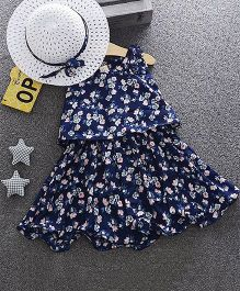 Dells World Floral Print Layered Dress With Hat - Blue