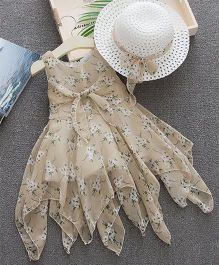 Dells World Floral Print Knotted Dress With Hat - Beige