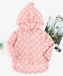 Pre Order - Awabox Polka Dot Full Sleeves Jacket - Pink
