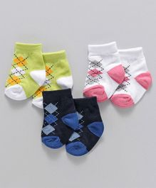 Babyhug Ankle Length Socks Geometric Design Pair of 3 - Green Blue Pink