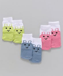 Babyhug Ankle Length Socks Pair of 3 - Green Blue Pink