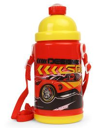 Hot Wheels Push Button Water Bottle Red Yellow - 450 ml