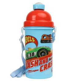 Hot Wheels Push Button Water Bottle Red Blue - 550 ml