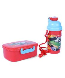 Hot Wheels Lunch Box With Water Bottle Speed Machine Print - Red