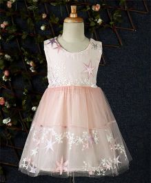 Kookie Kids Star Design Net Dress - Peach