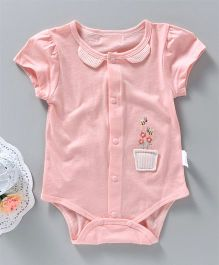 UKY Kids Flower And Bees Embroidered Onesie - Pink