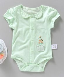 UKY Kids Flower And Bees Embroidered Onesie - Light Green