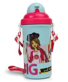 Barbie Water Bottle With Pop Up Straw Light Blue - 500 ml