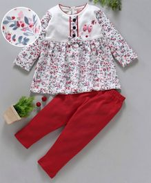 Babyhug Full Sleeves Frock Style Top And Leggings Bow Applique - White Red