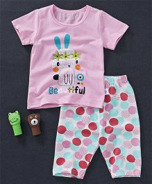 Honey Hut Beautiful Printed Tee And Bottom Set - Pink