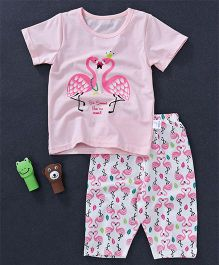 Honey Hut Swan Printed Tee And Bottom Set - Pink