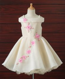 Bluebell Singlet Party Wear Frock Floral Applique - Cream