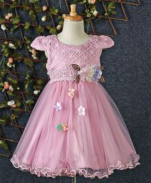 Huali Kids Flower Design Net Dress - Light Pink