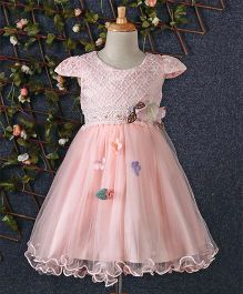 Huali Kids Flower Design Net Dress - Peach