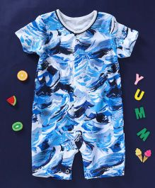 First Movements Waves Printed Romper - Blue