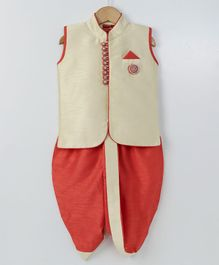 Ethnik's Neu Ron Sleeveless Kurta And Dhoti Set - Beige & Red