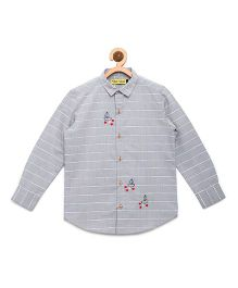 Tiber Taber Shirt With Embroidered Fish Details - Grey