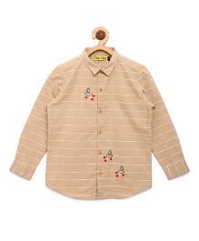 Tiber Taber Shirt With Embroidered Fish Details - Beige